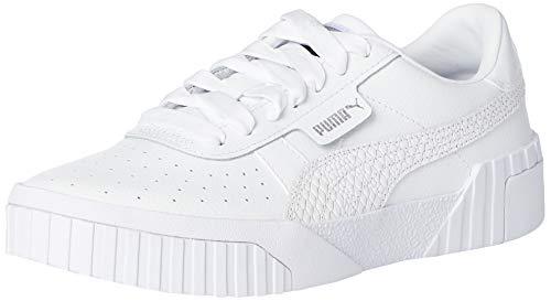 PUMA Cali Snake WnS, Zapatillas Mujer, Blanco White/Metallic Silver, 38 EU