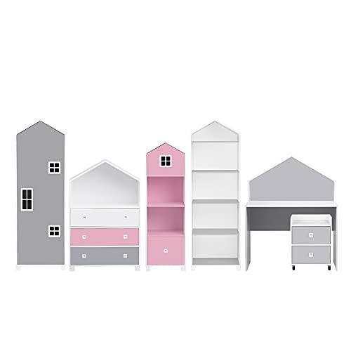 Selsey Mirum - Kindermöbel-Set 6-teilig mit Kleiderschrank, Schreibtisch, Rollcontainer und 2 Regale (Weiß / Rosa / Grau)