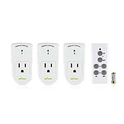 BN-LINK Wireless Remote Control Electrical Outlet Switch for Lights, Fans, Christmas Lights, Small Appliance, Long Range White (Learning Code, 3Rx-1Tx) 1200W/10A