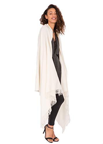 likemary Damen Schal Schultertuch aus 100% Merino Wolle - Poncho Stola XXL Tuch & Umschlagtuch - für Frauen - Kasa cremefarben