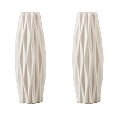 Haucy Blumenvasen Set Weiß, Plastikvase zum Wohnzimmer Deko, Vase für Pampasgras, Blumenvase für Blumen Kreative Tischdeko Dekoration, 2er Pack (21x7 cm)