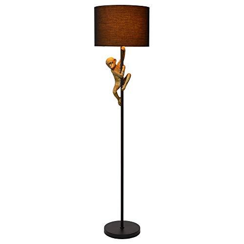 Stehleuchte & Standlampe Affenstehlampe Chimp in Gold und Schwarz EXTRAVAGANZA CHIMP E27 Metall Wohnzimmer Schlafzimmer   1-flammig