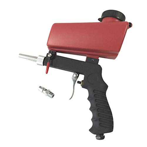 Pistola de chorro de arena por gravedad portátil Juego de chorro de arena neumático en miniatura Dispositivo de chorro de óxido Pequeña máquina de chorro de arena - Rojo-Negro