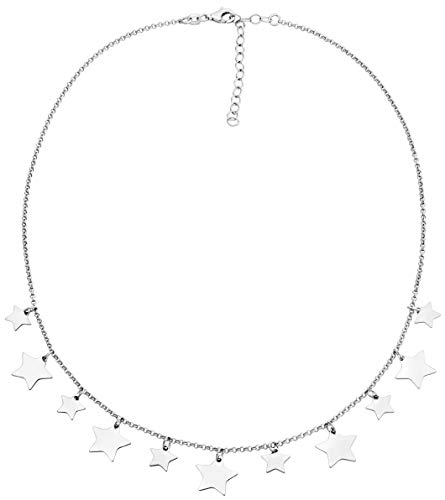 Miabella 925 Sterling Silver Lucky Star Dainty Adjustable Chain Necklace for Women Teen Girls 14-16 or 16-18 Inch, Handmade in Italy (16-18 inch sterling silver)