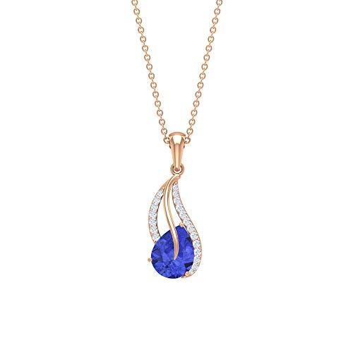 9X7 MM Oval Tanazaite Collar, 0.14 CT Diamante Accent Pendant, Colgante de cadena de oro azul