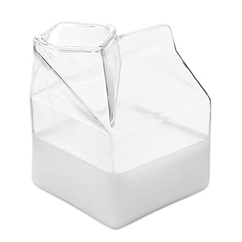 WT-YOGUET Milchglas Tasse Quadrat Hitzebeständig Mikrowelle Frühstück Glas Milch Milchkännchen Karton Behälter Wasser Glasbecher Becher Fall Keramik Milchkrug Krug klein mit Deckel