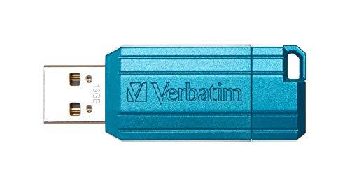 Verbatim PinStripe USB-Stick 16GB I USB 2.0 I USB Speicherstick I für Laptop Notebook Ultrabook TV Autoradio I USB 2.0 Stick I Datenstick mit Schiebemechanismus I Carribean Blue