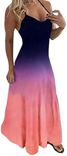 VIVIYY Sleeveless Tie dye Gradient Print Long Dress for Women Plus Size O Neck Camisole Purple product image