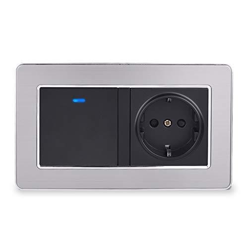 wkd-thvb Enchufe de pared según la norma de la UE + interruptor de luz desechable de 1 marcha con indicador LED Marco de acero inoxidable 146 mm * 86 mm negro 110 – 250 V
