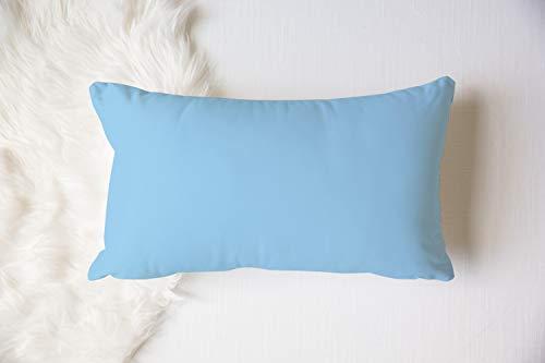 Almohada lumbar reversible de color azul claro y océano, con tacto de lino, para sofá de casa de campo, suave manta de playa para niños, decoración de guardería