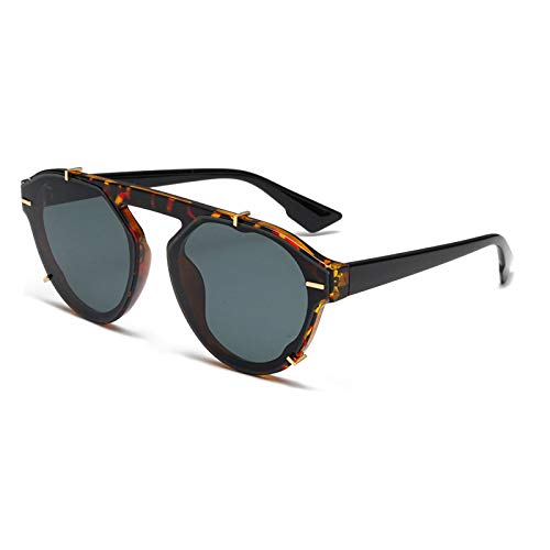 QINGZHOU Gafas de Sol,Gafas de sol de moda para uñas de arroz, gafas de sol con personalidad unisex, gafas de sol de tiro callejero, película verde oscuro de carey