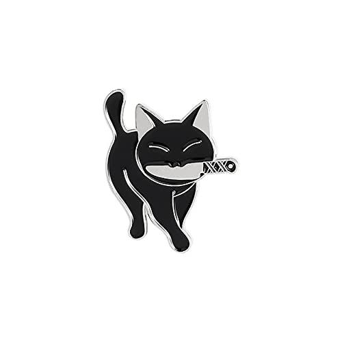 MPU Killer Cat Esmalte Pins Funny Animal Gatito Cuchillo Insignia Para Camisa Capa Solapa Pin Cartoon Broches Joyería Regalos Para Amigo Niños