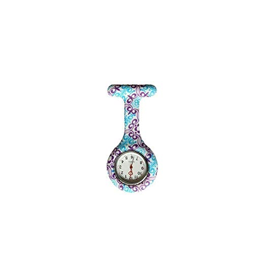 Yililay Reloj de Bolsillo Mujeres Flor Duradero Reloj análogo de Cuarzo del Reloj de Bolsillo de sílice Broche de Pinza Fob Médico Reloj de la Enfermera