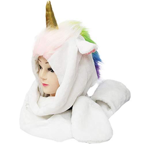 Einhorn Mütze Plüsch Kostüm - Wintermütze mit Bommeln Regenbogen Schalmütze für Damen Mädchen Fasching Karneval Cosplay Schal Handschue weich warm (Weiß)