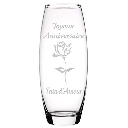 kdo-magic - Vase Personnalisable Ovale en Verre - Fleur -...
