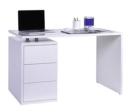 Amazon Marke - Movian - Schreibtisch mit 3 Schubladen, 120 x 74 x 60cm, Hochglanz Weiß