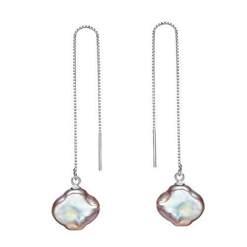 Lucky Four Leaf Shaped Barock Pearl 925 Sterling Silber Lange Einfädler Kette Ohrringe für Frauen Mädchen