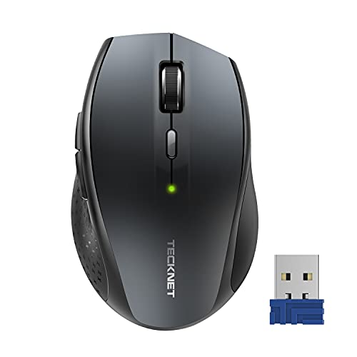 TECKNET 2.4G Wireless Mouse Ergonomic Optical Mice with USB Receiver for Notebook, PC, Laptop, Computer, 4800 DPI, 6 Adjustment Levels (Grey)
