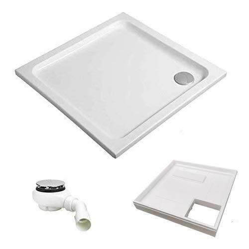 HOESCH KOMPLETT-PAKET: Duschwanne 90 x 90 x 2,5 cm superflach Acryl + Styroporträger/Wannenträger + Ablaufgarnitur chrom
