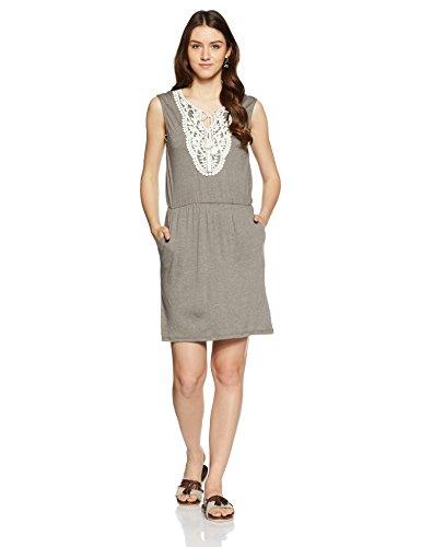 VERO MODA Damen VMMATEA SL Crochet Short Dress Kleid, Grau (Light Grey Melange), 34 (Herstellergröße: XS)