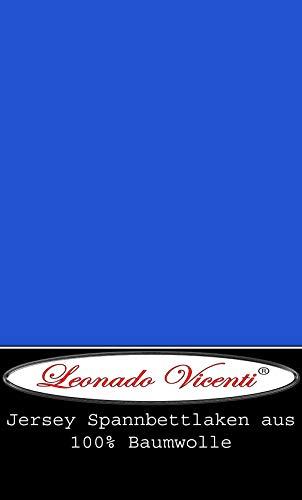 Leonado Vicent - Classic Spannbettlaken Bettlaken 100% Baumwolle Jersey Spannbetttuch in vielen Farben & Größen MARKENQUALITÄT ÖKO TEX Standard 100 (90 x 200 cm - 100 x 200 cm, Blau)