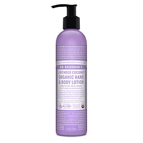 Dr. Bronner's - Organic Lotion (8 Ounce) - Body Lotion and Moisturizer, Certified Organic, Soothing for Hands, Face and Body, Highly Emollient, Nourishes and Hydrates, Vegan (Lavender Coconut)