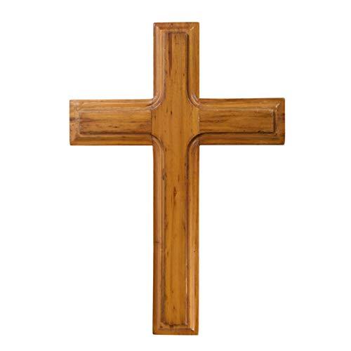 Croce di Legno da 26 cm - Croce di Gesù da Parete - Decorazione da Parete Solido Gesù Crocifisso Casa Matrimoni Decorazione Regalo Meditazione per Feste (Apricot)