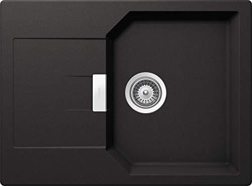 SCHOCK kompakte Küchenspüle 69 x 51 cm Manhattan D-100S Nero - CRISTALITE schwarze Granitspüle mit verkürzter Abtropffläche ab 45 cm Unterschrank-Breite