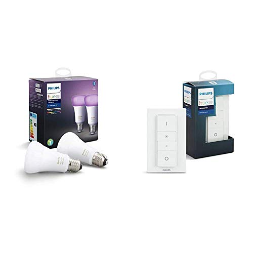 Philips Hue White and Color Ambiance Pack de 2 bombillas LED inteligentes E27 y mando, luz blanca y de colores, compatible con Bluetooth y Zigbee, funciona con Alexa y Google Home