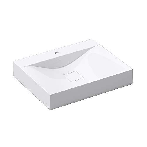 Sogood Lavabo suspendido o Lavabo sobre encimera Blanco Angular para lavamanos Colossum810 de 60cm de Ancho Lavabo de mármol Mineral Fundido