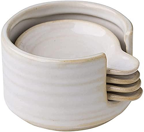 小皿 醤油皿 豆皿 4点セット 陶器 酢皿 調味皿 食器セット 白い食器 飲食店 (セット) (S)