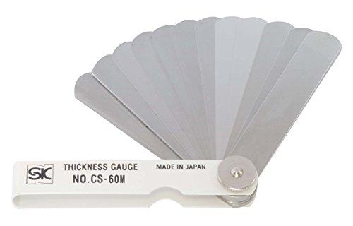 新潟精機 SK シクネスゲージ(すきまゲージ) カラースリーブタイプ 白 19枚組 75mm CS-60M 0.03-1.00mm