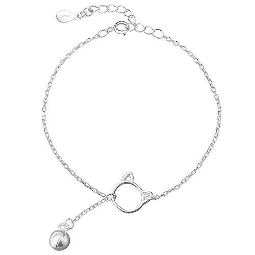 duoying Armband, Katzen-Glöckchen, glänzendes Armband für Mädchen, Schmuck, Liebe, 925er Sterlingsilber, glänzend, für Frauen und Mädchen, Geschenk zum Valentinstag