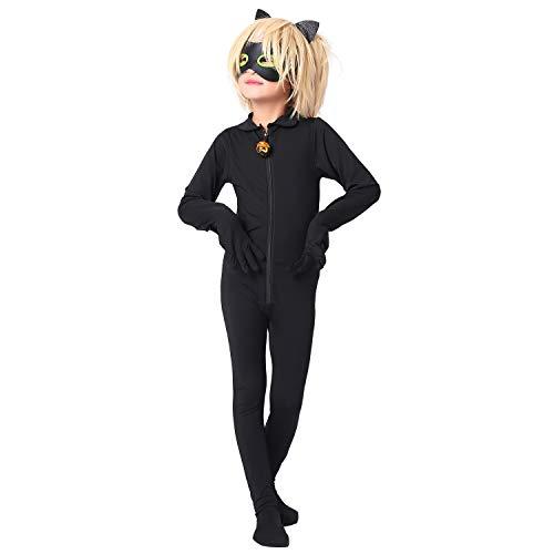 Modi Mono de Disfraz de Mariquita para niños, Disfraz de Gato Noir para Cosplay, para Halloween, Navidad, Fiestas