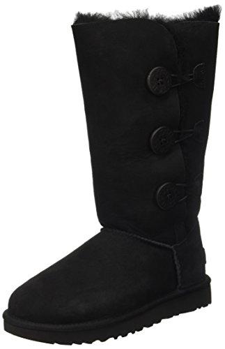 UGG Female Bailey Button Triplet II Classic Boot, Black, 8 (UK)