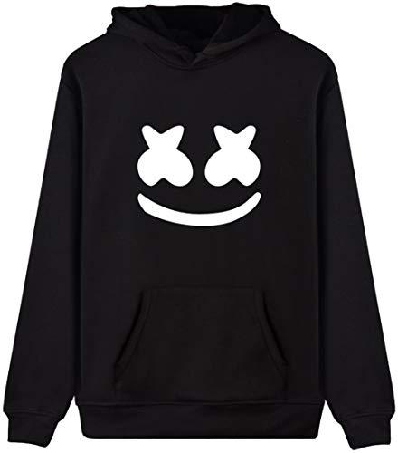 OLIPHEE Kapuzenpullover für DJ Fans Herren 3D Kapuzensweatshirt Sport Hoodie Schwarz S