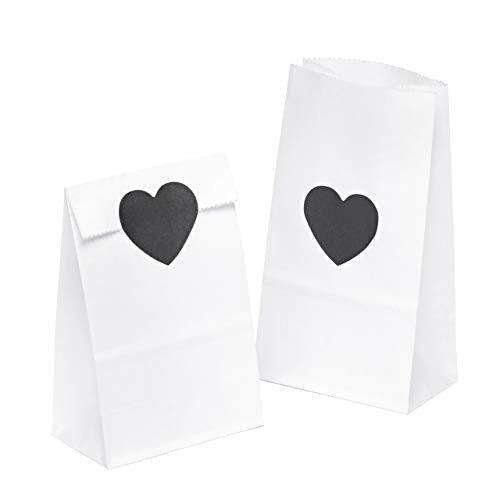 kgpack 100x Bolsas de papel kraft DIY Con pegatinas corazón 9 x 16 x 5 cm | Bolsas de papel Kraft para niños | calendario de adviento | Bolsa de regalo de fondo plano | Bolsa de papel de alimentos