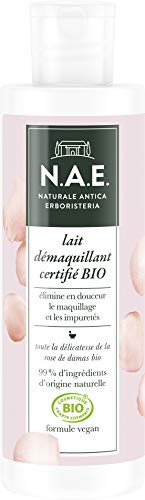 N.A.E. - Lait Démaquillant Nettoyant Visage - Enrichi en Eau de Rose de Damas - Certifié Bio - Formule Vegan - 99 % d'ingrédients d'origine naturelle - Flacon de 200 ml