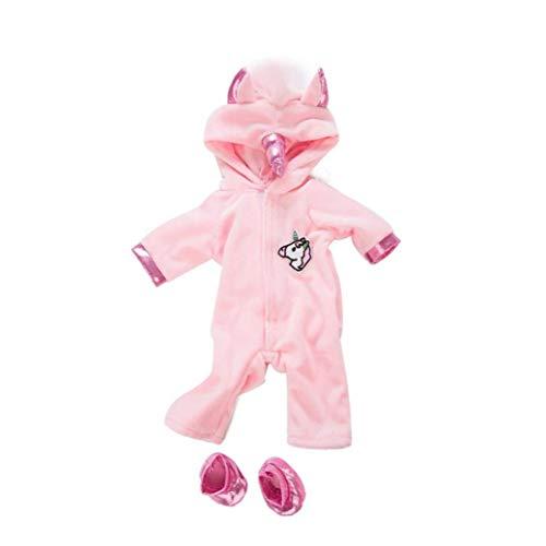 LjzlSxMF 1set American Girl Puppen Unicorn Jumpsuit Sets Kreative Pferden-Muster-puppenkleidung Mit Schuh-Baby-Puppen-dekor Kleidung Kit Rosa