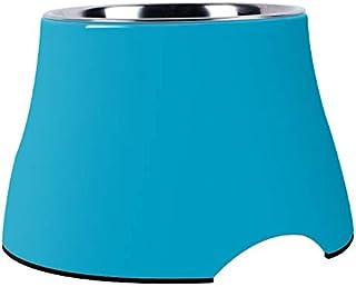 SuperDesign 犬 猫 食器 ペット ボウル ステンレス 給食器 スタンド メラミン製スタンド付き 滑り止め 取り外し可能 洗いやすい 食器洗濯機で洗える シンプル (M, ブルー)