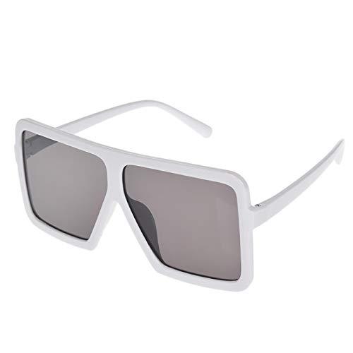 NJJX Gafas De Sol Cuadradas Planas Grandes Para Mujer, Montura Grande De Gran Tamaño, Deslumbrante, Gafas Unisex Para Conducir, Accesorios Para Automóviles, Blanco, Negro