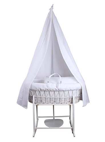 Clair de Lune 6-Piece Waffle Moses Basket & Stand Starter Set (White)