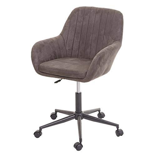 Mendler Bürostuhl HWC-D35, Drehstuhl Schreibtischstuhl Lehnstuhl Stuhl, Stoff/Textil mit Armlehne ~ Vintage braun
