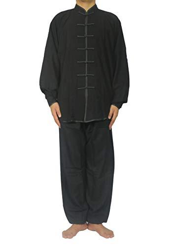 FUYUFU Algodón y Lino Traje de Tai Chi Unisex Ropa de Artes Marciales Kung-fu Disfraz para Hombre y Mujer (un Conjunto) (Negro, XL)