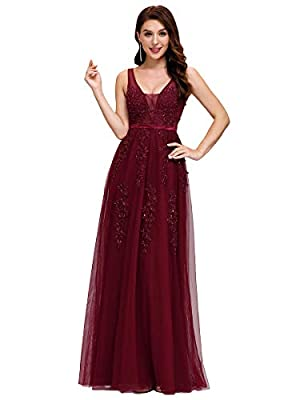 Ever-Pretty Women's V-Neck Sleeveless Fit & Flared Appliques Bridesmaid Dresses Long Burgundy US10