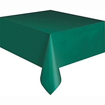 PACK OF 4: Disposable GREEN Plastic Tablecloths/Table Covers, 54 x 108 inches each