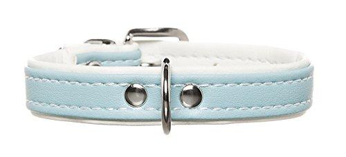 HUNTER Hundehalsband, Modern Art, Kunstleder, kleine Hunde, klassisch, 37 (XS-S), hellblau/weiß