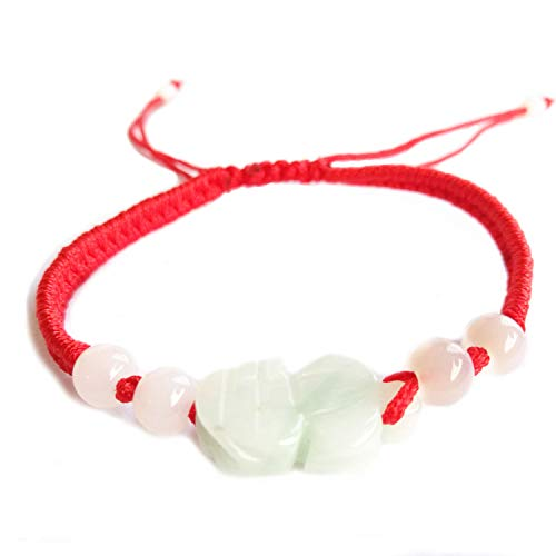 MANRUO The Best Feng Shui - Pulsera de Cuerda roja con Cuentas de Color Jade Pi Xiu/Pi Yao, joyería de Amuleto de la Suerte y Riqueza