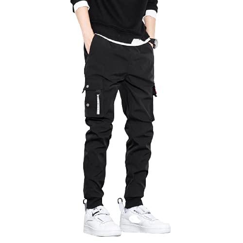 Corumly Pantalones Casuales para Hombre Pantalones de 9 Puntos Multibolsillos de Talla Grande guapos a la Moda Pantalones de Temperamento de Todo fósforo Informales de Tendencia de la Calle L