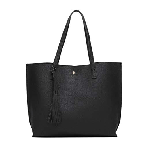UKKO Handtasche Frauen Softleder Handtaschen-Frauen-Schulter-Beutel Shopper Bucket Bag Mode Damenhandtaschen,Schwarz